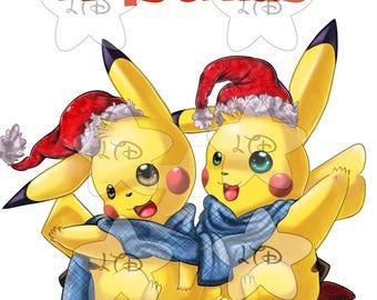 Pikachu Merry Christmas Iron On Transfer