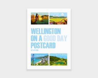 Set of Four Postcards, Wellington, New Zealand Art, Retro, Travel Posters
