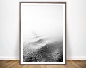 Black and White Ocean Print * Ocean Poster Minimalist Poster Wave Print Sea Water Print Seascape Photography Ocean Photography Sea Poster
