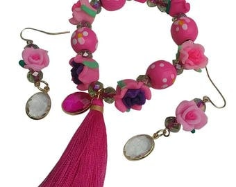 Garden Hot Pink Light Pink Bright Purple Clay Rose Wood Bead Girly Jewelry Set