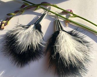 Jingle cone feather fluff shoulder duster earrings