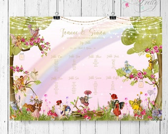Vintage fairies woodland seating plan for a fairytale wedding