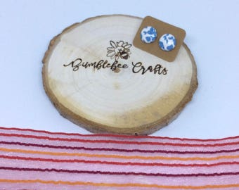 Round Fabric Covered Button Earrings - blue & white floral