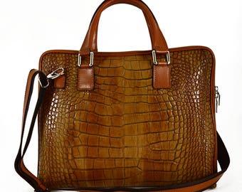Genuine Leather Woman Briefcase Crocodile Printed