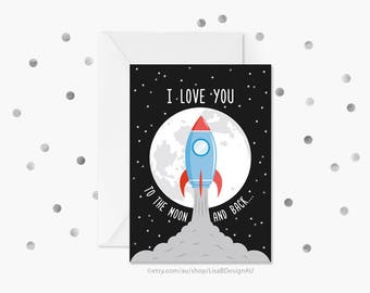 Anniversary Card | Valentines Card | I Love You to the Moon and Back | Spaceship | Nursery Decor | Card For Her | Card For Him | GCLACA605