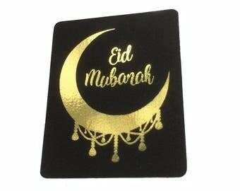 20 Black & Real Gold Foil Eid Mubarak Stickers