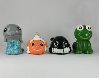Set of 4, Dolphin, Fish, Whale, Frog