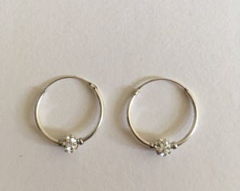 925 Sterling Silver Hoop Earrings with Bead and Diamanté Detail