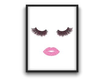 Makeup poster with glitter effect