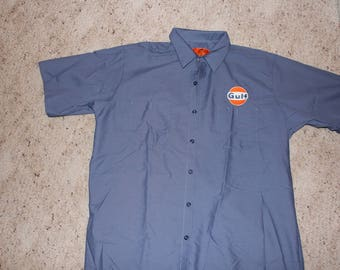 Large Gulf Work Mechanic Shirt-Retro Gasoline