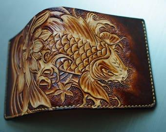 Handmade tooled leather flower&Cryprinus carpiod wallet short wallet