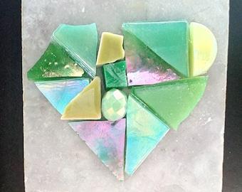 Magnet mixed media mosaic Green
