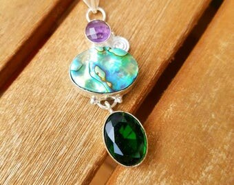 Abalone shell, Chrome Diopside and Amethyst Pendant set in 925 Sterling Silver.