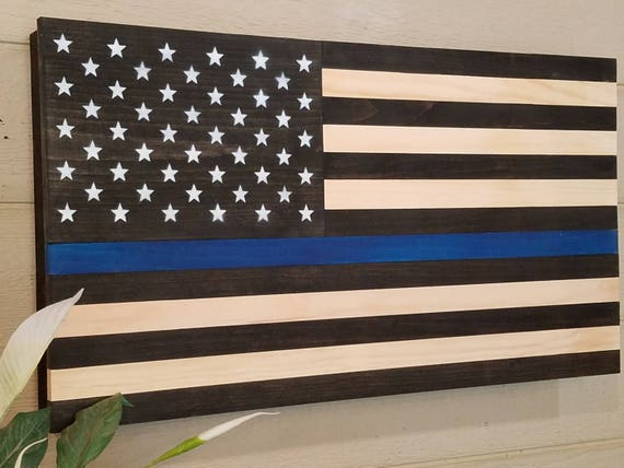 Thin Blue Line American Flag Wooden Concealment Compartment