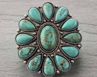 Big Natural Turquoise Stretch Bracelet-B#710691001