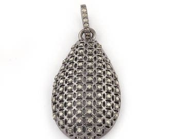 50% off 1 Pc Pave Diamond Pear Drop Pendant - 925 Sterling Silver - Diamond Antique Finish Pendant - Pear Drop Pendant 34mmx19mm PDJ021