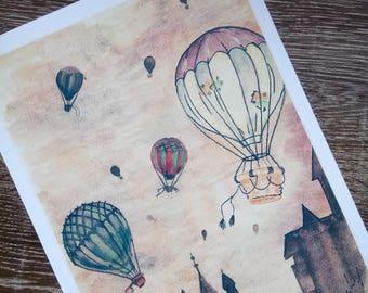 Antique look hot air balloon print. Steam punk. Print only no frame.