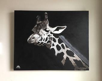 "Giraffe acrylic painting on canvas 24 ""x 30"""
