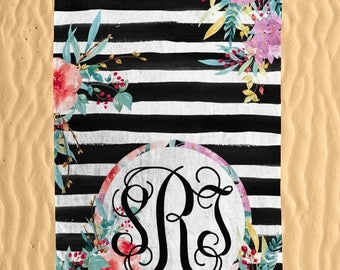 Personalized Floral Contrast Print Beach Towel - Watercolor Floral Print 30x60 Beach Towel - Beach Towel  - Personalized Beach Towel