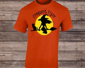 Frequent Flyer T-Shirt/Halloween Shirt/Witch Shirt/Trick or Treat Shirt/Skull Shirt/Witch Shirt/Bone Shirt/Halloween Tee/Witch Tee