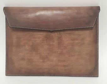 leather clutch bag hand made