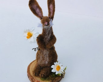 Needle felted rabbit, gift for rabbit lovers, Easter gift, Spring decor