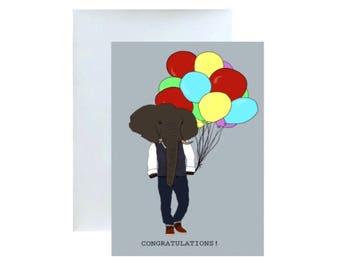 CONGRATULATIONS, ELEPHANT Greeting Card....