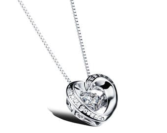 Stone Heart Frame Pendant Silver Floating Dancing Crystal Zirconia Necklace