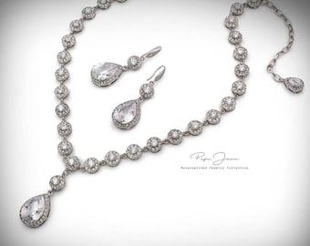Wedding Necklace Wedding Earrings set Zirconia Rhinestone Necklace Earrings set Bride necklace set Wedding Accessory Bridal Jewelry
