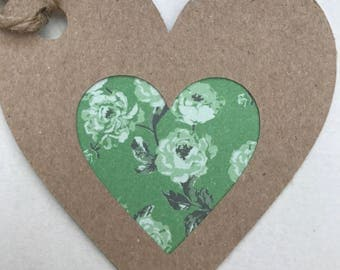 Gift tags - Handmade tags - Vintage rose cut out heart tags - Wedding Favor tags - Vintage tags - Heart tags - Birthday tags - Scrapbooking