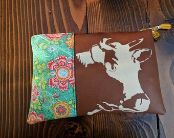 Vegan Friendly Brown Leather Clutch featuring Bessie the Cow and Amy Butler Fabric