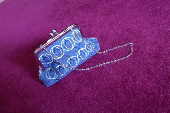 Embroidered Blue Jean Clutch Purse with Chain, Blue Jean Clutch Purse with Chain, Blue Embroidered Clutch Purse