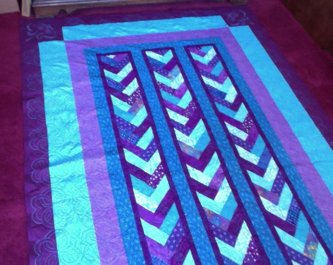 Purple and Turquoise Braided Patchwork Quilt 64 in X 109 in Twin size quilt - Bedding- Blanket- Home and Living, Purple Throw Quilt, T
