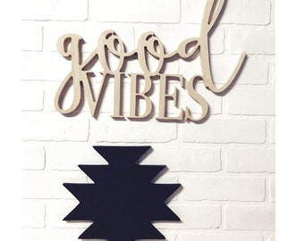 Good Vibes Word Wood Cut Out Sign Wall Decor