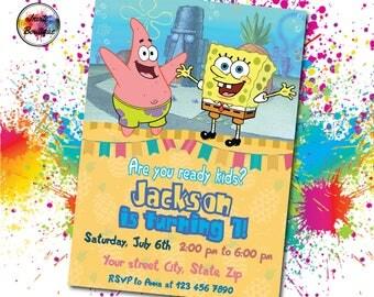 Bob sponge, Bob sponge invitation, Bob sponge Birthday, Bob sponge Party, Bob sponge digital, Bob sponge invite, Bob sponge movie, IB 016