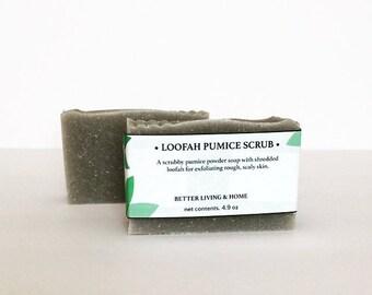 Pumice Scrub soap - Loofah Scrub Soap - Coconut Oil Soap - Foot Soap - Pumice Soap - Loofah Soap - Shea Butter Soap - Mechanics Soap