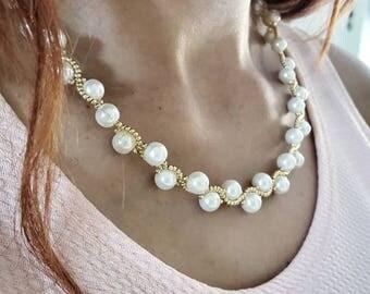 White Pearls beaded necklace swarovski