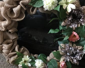 Burlap Floral Wreath