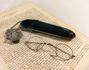 Antique Victorian Spectacles with Black Velvet Chatelaine Glasses Case