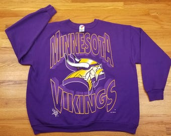 Vintage 90s 1994 Minnesota Vikings Huge Logo Sweatshirt Sweater Shirt Size 3XL