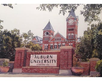 Auburn University LIMITED EDITION Pen and Ink and Watercolor Art Print Illustration by John Stoeckley - Graduation Gift