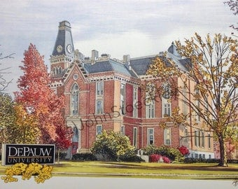 DePauw University LIMITED EDITION Pen and Ink and Watercolor Art Print Illustration by John Stoeckley -Graduation Gift