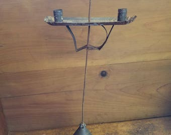 Antique conical adjustable candle stand