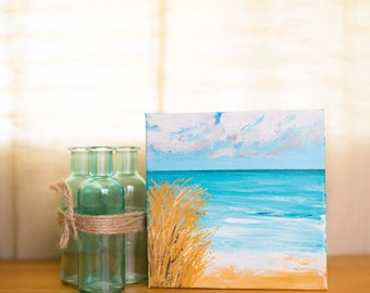 Small original seascape on gallery-wrapped canvas, 8x8inches