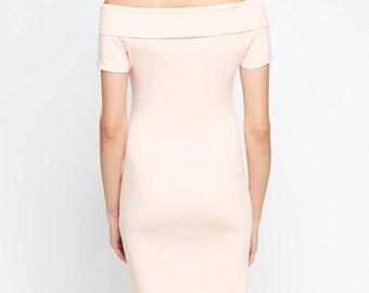 Women's Off Shoulder Bodycon Midi Dress
