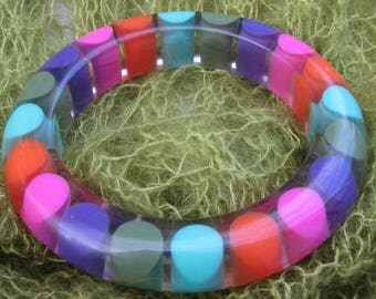 Vintage Retro Injected Rainbow Dot Lucite Early Plastic Bracelet Bangle 1960s