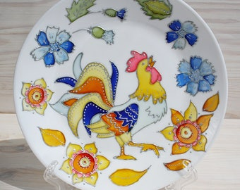 Glass plate Decorative handpainted plate Ukrainian plate with rooster Gift plate with flowers
