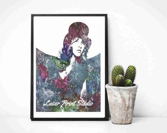 Stevie Nicks Watercolor Poster- Rock Legend- Music  Art Print, Fleetwood Mac -Birthday Gift Music Gift- Poster Print- Gypsy Decor