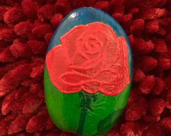 Rose, Painted, Stone, flower, Red Rose, Mothers Day,