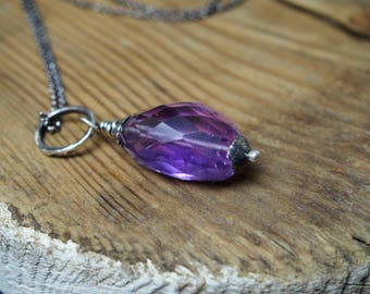 Amethyst necklace, 925 oxidized sterling silver, raw sterling silver, chain necklace